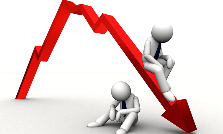 3d red arrow down in business graph